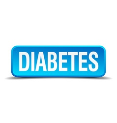 diabetes blue 3d realistic square isolated button vector image