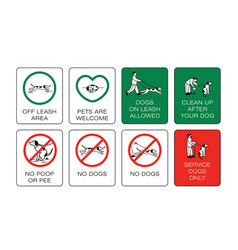 Dog owner sign set prohibiting and resolving vector