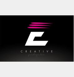 E white and pink swoosh letter logo letter design vector