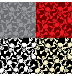 Evil skull with bones Warning sign Seamless vector