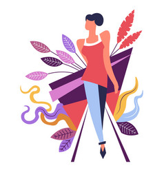fashion woman modeling walking straight foliage vector image