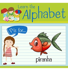 Flashcard alphabet P is for piranha vector