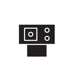 flat black web cam glyph icon symbol sign logo vector image