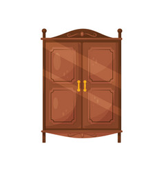 Flat icon of vintage wooden cabinet with vector