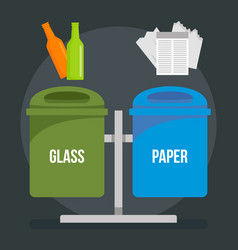 glass paper trash bin concept background flat vector image