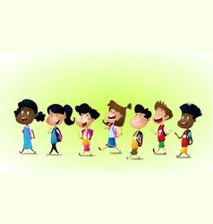 Group of children running vector