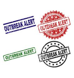 Grunge textured outbreak alert stamp seals vector