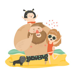 happy family at the beach vector image