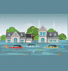 heavy rain drops and city flood in modern village vector image
