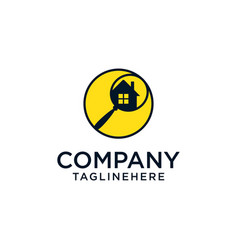 home search logo - house with window and chimney vector image