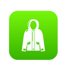 hooded jacket icon green vector image