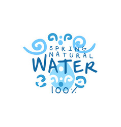 Kids drawing of pure water for logo or badge with vector