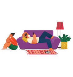 Life young couple at home family indoor vector