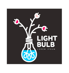 Light bulb logo with flowers formed by cables and vector