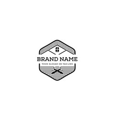 Logo design roof and hammer vector