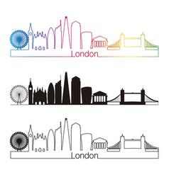 london v2 skyline linear style with rainbow vector image