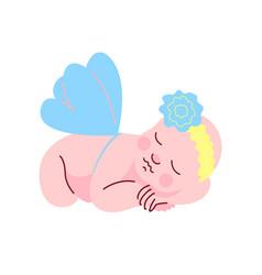 Lovely newborn baby dressed in flower headband vector