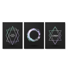 luxury cards collection with geometric shape vector image
