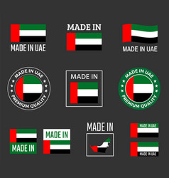 made in united arab emirates icon set made in uae vector image