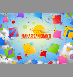 Makar sankranti wallpaper with colorful kite for vector