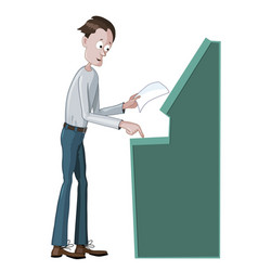 man using an atm machine vector image