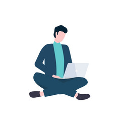 man with laptop sit in lotus pose isolated vector image