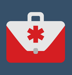 Medical bag object flat icon vector