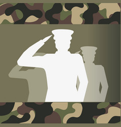 military officer silhouette and camouflage vector image