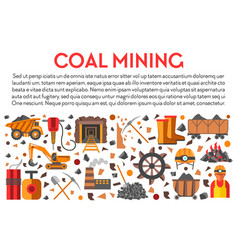 mining industry coal mine banner machinery and vector image