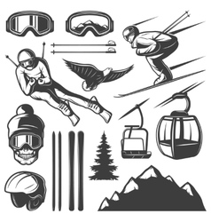 Nordic Skiing Elements Set vector