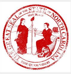 North carolina seal rubber stamp vector