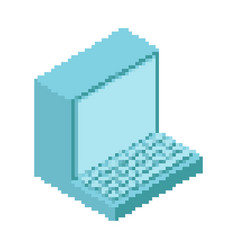 Old computer pixel art outdated pc 8 bit obsolete vector
