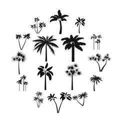 palm tree icons set simple style vector image
