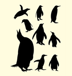 Penguins silhouette 01 vector