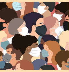 People faces with medical masks seamless vector