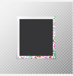 Photo frame with multi-colored confetti vector