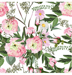 pink eustoma with wild field flowers pattern vector image