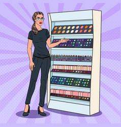 Pop art beauty product shop assistant perfumery vector