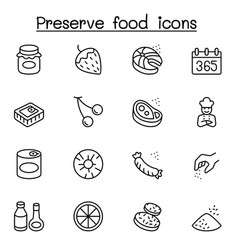 preserved food icons set in thin line style vector image