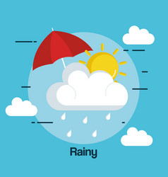 Rainy weather status icon vector
