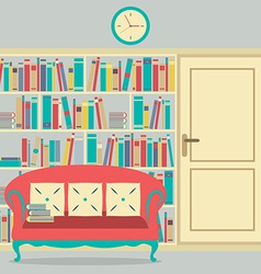 Reading Seat In Front Of A Huge Bookcase vector