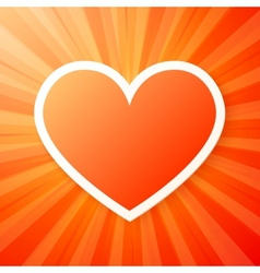 Red heart on shining background vector