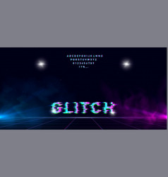 retrowave glitch font on futuristic perspective vector image