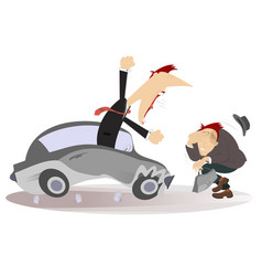 Road accident driver and pedestrian vector