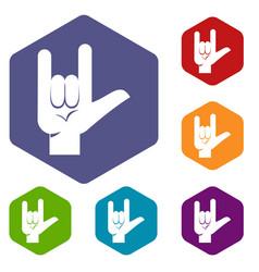 Rock gesture icons set hexagon vector