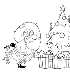 Santa delivering presents cartoon vector image