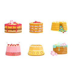 set cakes decorated with berries vector image