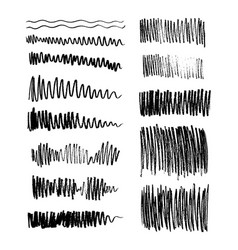 set grungy graphite pencil art brushes vector image