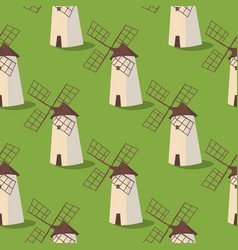 set image pattern windmills on the grass vector image