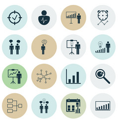 Set of 16 administration icons includes reminder vector